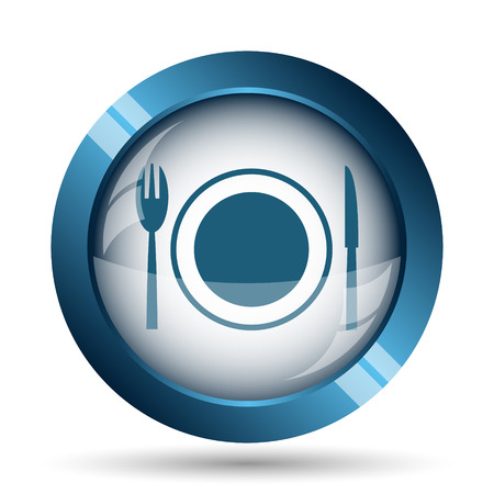 food plate: Restaurant icon. Internet button on white background.