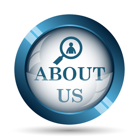 business support: About us icon. Internet button on white background.