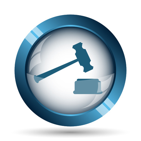 business decisions: Judge hammer icon. Internet button on white background.