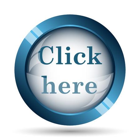 click: Klik hier icoon. Internet-knop op witte achtergrond.