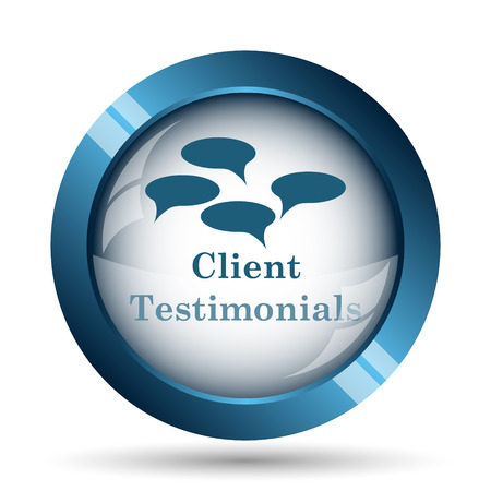 testimonial: Client testimonials icon. Internet button on white background.