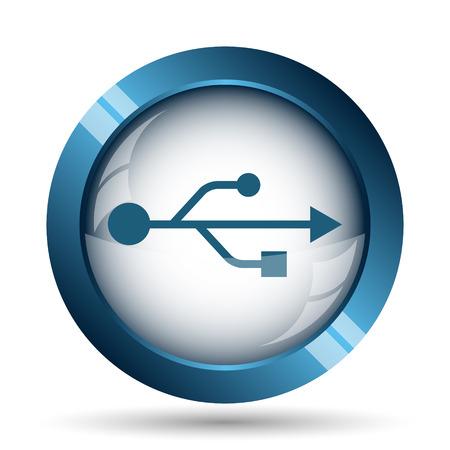 usb pendrive: USB icon. Internet button on white background. Stock Photo