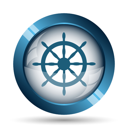 schooner: Nautical wheel icon. Internet button on white background.