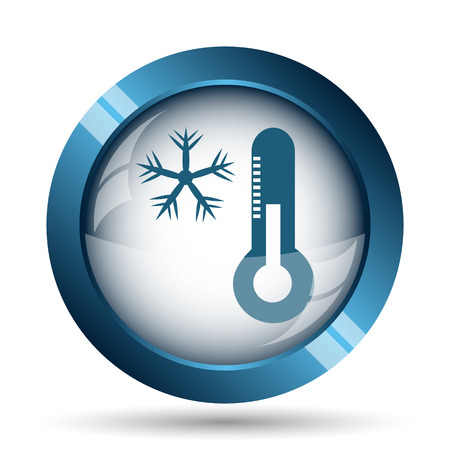 blizzards: Snowflake with thermometer icon. Internet button on white background.