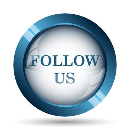 follow icon: Follow us icon. Internet button on white background. Stock Photo