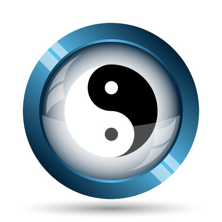 asian business: Ying yang icon. Internet button on white background. Stock Photo