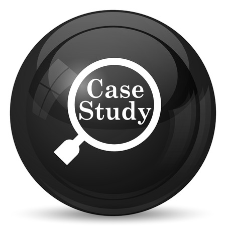 study icon: Case study icon. Internet button on white background.