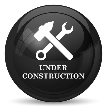 road construction: Under construction icon. Internet button on white background.