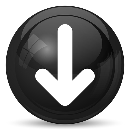 downwards: Down arrow icon. Internet button on white background.