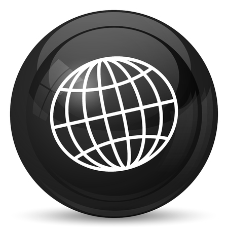 Globe icon. Internet button on white background. Stock Photo