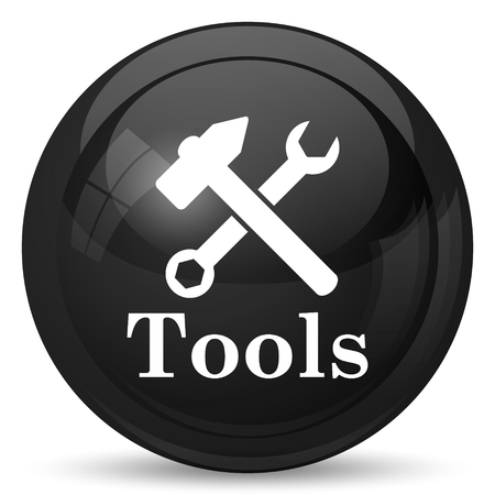 work on the computer: Tools icon. Internet button on white background.