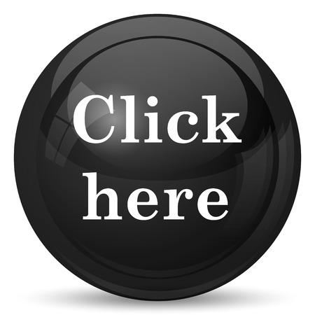 klik: Klik hier icoon. Internet-knop op witte achtergrond.