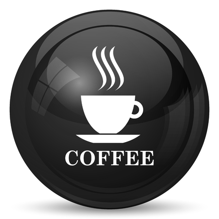 black coffee: Coffee cup icon. Internet button on white background.