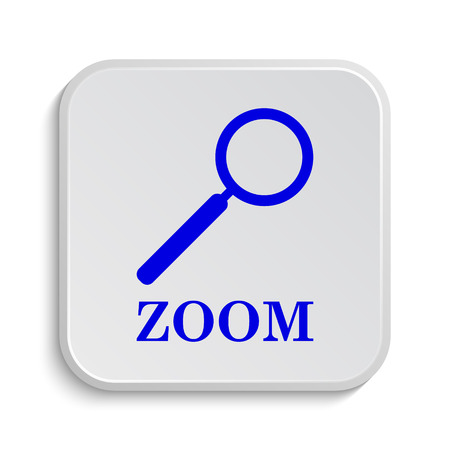 loupe: Zoom with loupe icon. Internet button on white background.