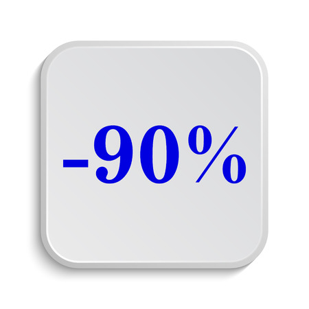 90: 90 percent discount icon. Internet button on white background.