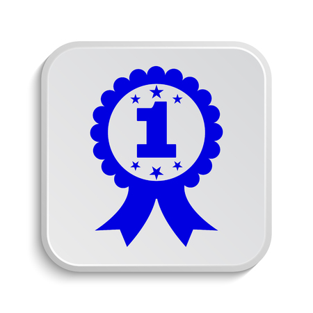 first prize: First prize ribbon icon. Internet button on white background.