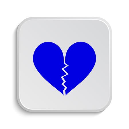 corazon roto: Icono del coraz�n quebrado. Bot�n de internet sobre fondo blanco.