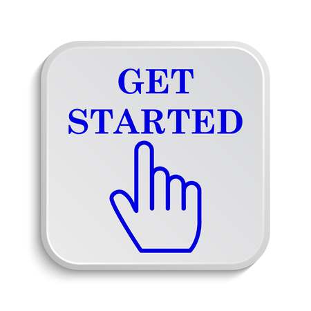 blue button: Get started icon. Internet button on white background.