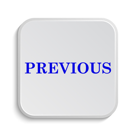 previous: Previous icon. Internet button on white background. Stock Photo