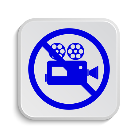 restrictions: Forbidden video camera icon. Internet button on white background. Stock Photo