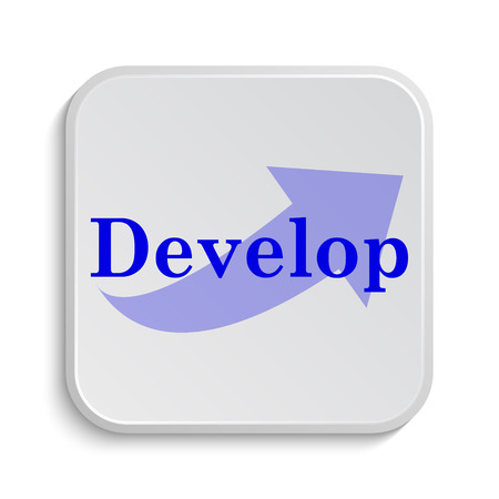 development: Develop icon. Internet button on white background.