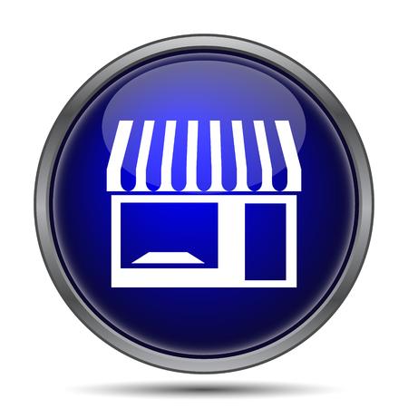 button front: Store icon. Internet button on white background. Stock Photo