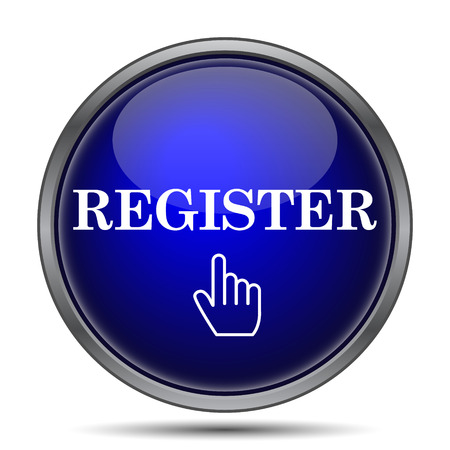 Register icon. Internet button on white background.