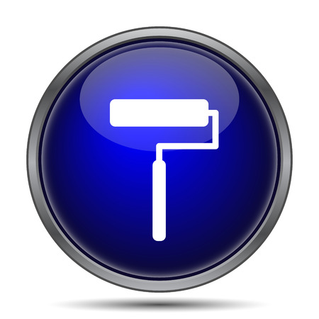 blue paintroller: Roller icon. Internet button on white background.