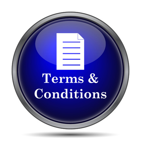 conditions: Terms and conditions icon. Internet button on white background.