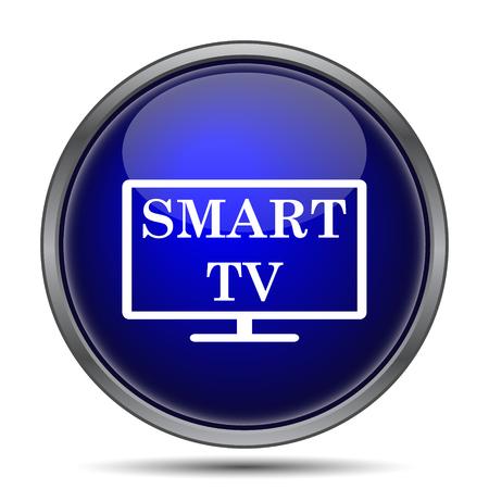 blue widescreen widescreen: Smart tv icon. Internet button on white background.