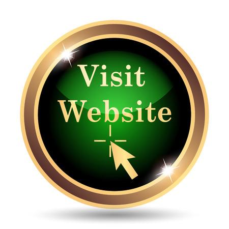 visit: Visit website icon. Internet button on white background. Stock Photo