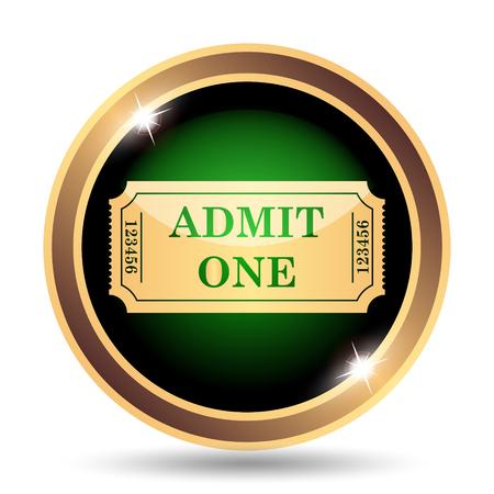 stub: Admin one ticket icon. Internet button on white background. Stock Photo