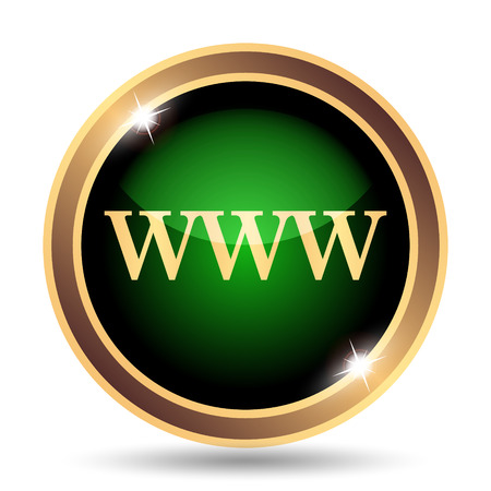 WWW icon. Internet button on white background. Stock Photo