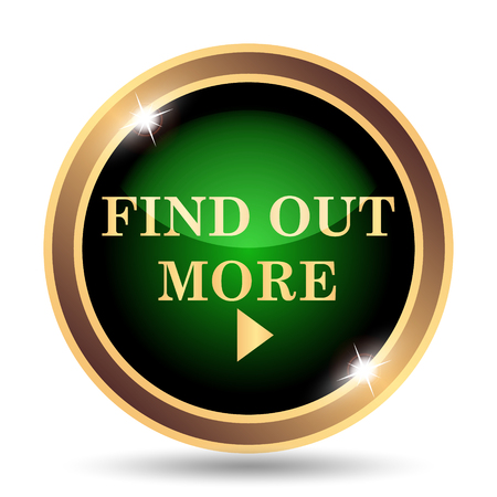 find out: Find out more icon. Internet button on white background.
