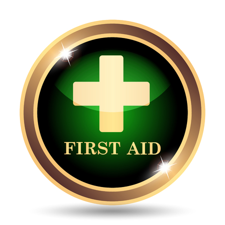 first aid sign: First aid icon. Internet button on white background. Stock Photo