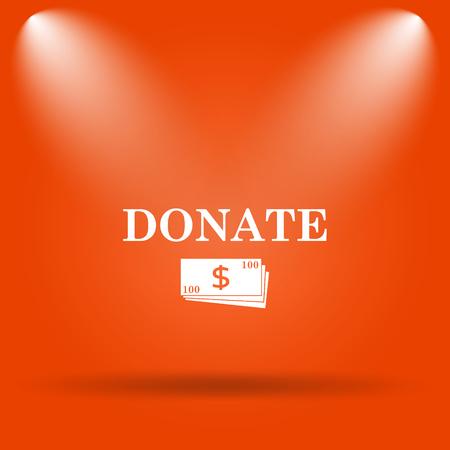 aiding: Donate icon. Internet button on orange background. Stock Photo