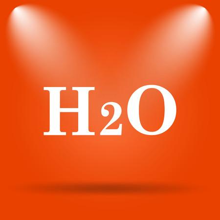 h2o: H2O icon. Internet button on orange background.