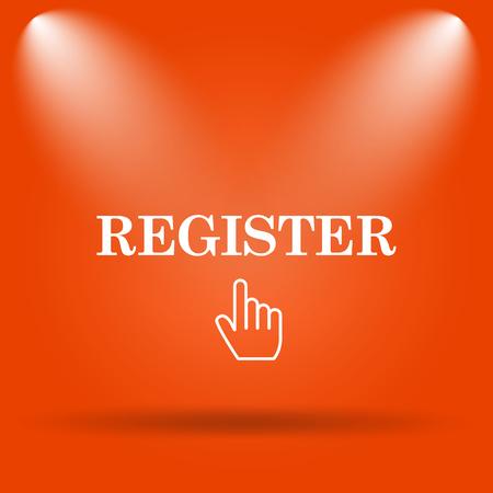 Register icon. Internet button on orange background. Stock Photo