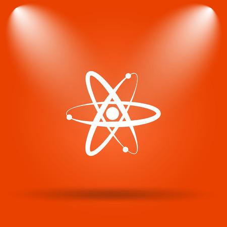 gamma radiation: Atoms icon. Internet button on orange background.
