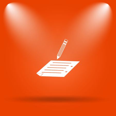 subscribing: Subscribe icon. Internet button on orange background. Stock Photo