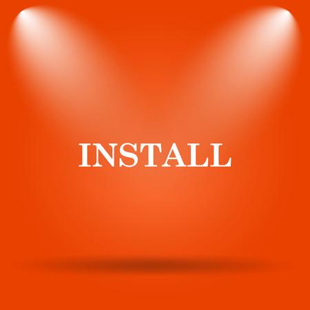 operative: Install icon. Internet button on orange background.