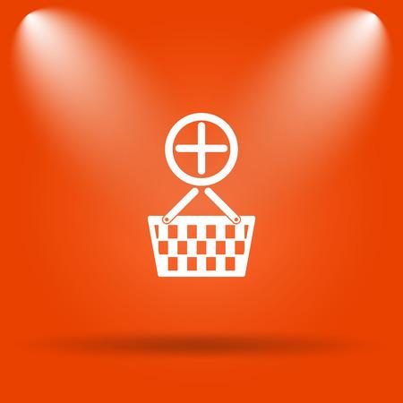 add to basket: Add to basket icon. Internet button on orange background.