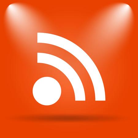 meta: Rss sign icon. Internet button on orange background.
