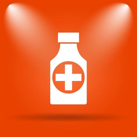 prescription bottles: Pills bottle  icon. Internet button on orange background. Stock Photo
