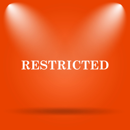 restricted icon: Restricted icon. Internet button on orange background.