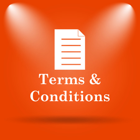 terms: Terms and conditions icon. Internet button on orange background.