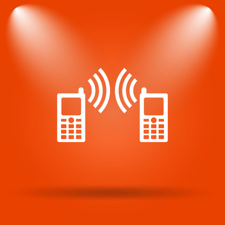 palmtop: Communication icon. Internet button on orange background. Stock Photo