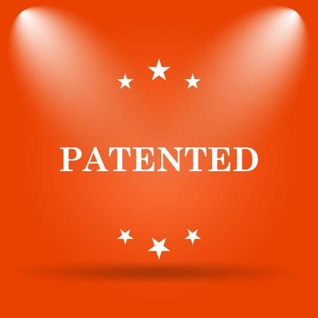 plagiarism: Patented icon. Internet button on orange background. Stock Photo