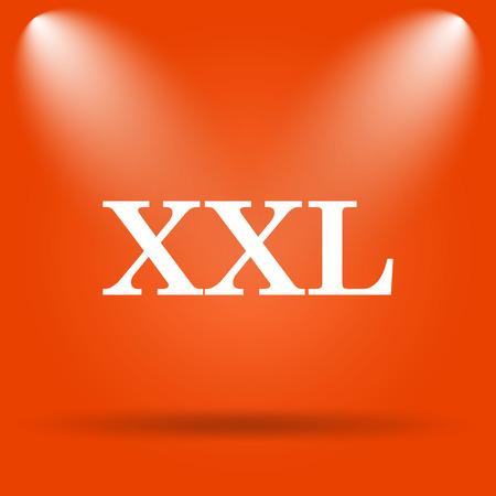 xxl icon: XXL  icon. Internet button on orange background. Stock Photo