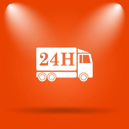 24h: 24H delivery truck icon. Internet button on orange background.